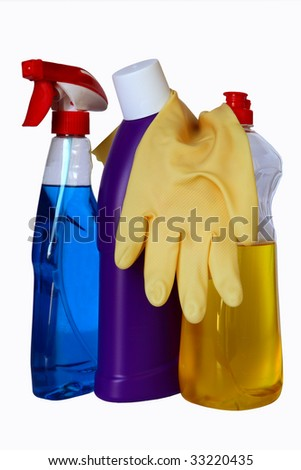 close up of hygiene cleaners and gloves for housework on white background - stock photo