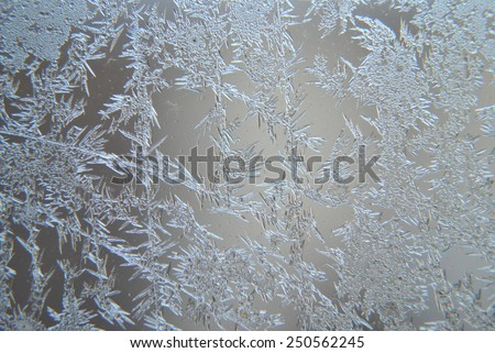 Close up of ice crystals at a windows