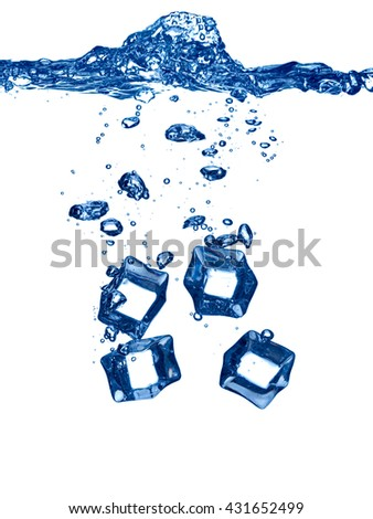 close up of ice cube splash in water on white background - stock photo