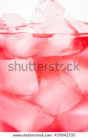 Close up of ice cubes in fresh cocktail - stock photo