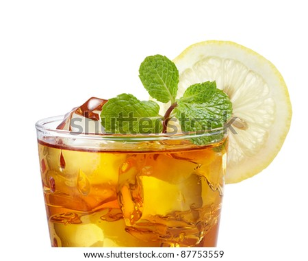 close up of iced tea against white background - stock photo