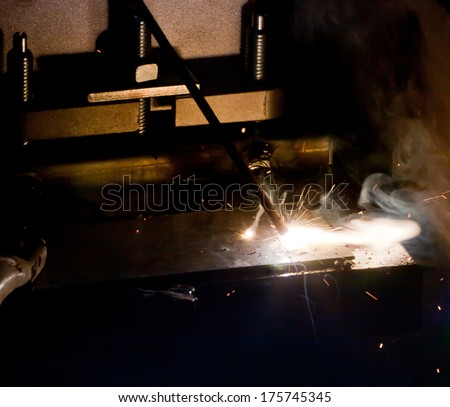 Close up of incandescent welding, bright Light.