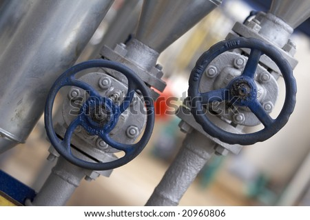 close up of industrial pipes of oil industry production - stock photo