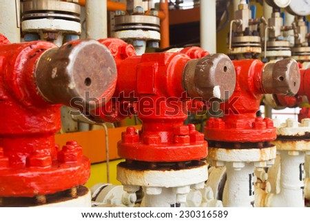 Close-up of industrial valves - stock photo