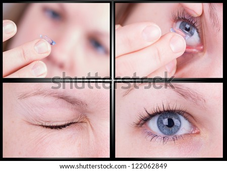 Close up of inserting a contact lens in female eye, fotoseries - stock photo