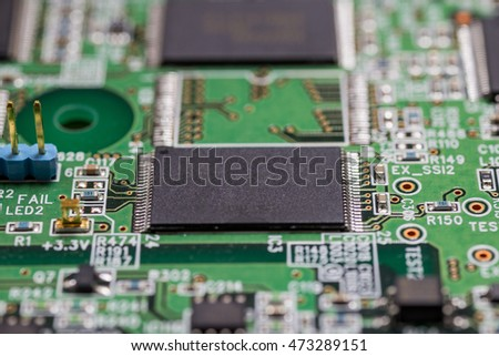 Close up of Integrated circuit on printed circuit board