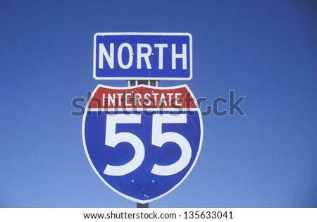 Close-up of Interstate Highway 55 going North - stock photo