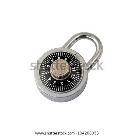 close up of isolated combination padlock - stock photo