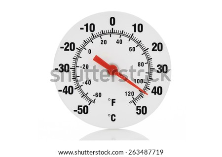 Close-up of isolated thermometer on white background - stock photo