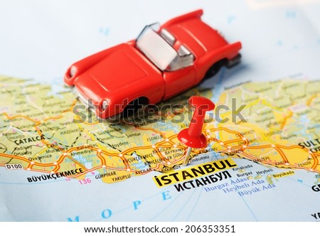 Close up of  Istanbul ,Turkey  map with red pin and a car   - Travel concept - stock photo