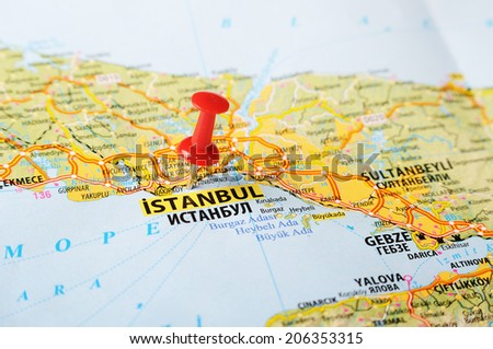 Close up of  Istanbul ,Turkey  map with red pin    - Travel concept - stock photo