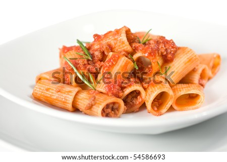 Close Up Of Italian Pasta and Sauce - stock photo