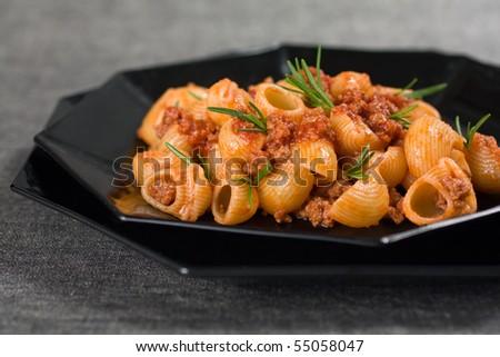 Close Up Of Italian Pasta and Sauce - stock photo