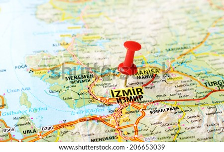 Close up of  Izmir ,Turkey  map with red pin    - Travel concept - stock photo