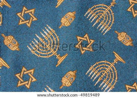Close-up of Jewish Hanukkah fabric useful as background