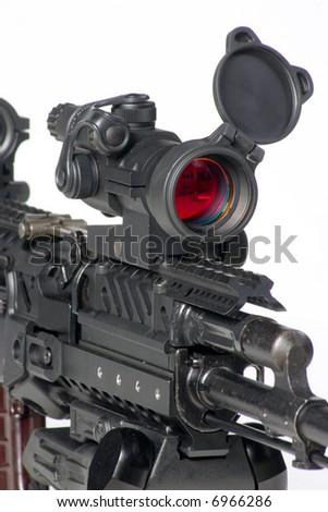 close up of kalashnikov mashine gun - stock photo