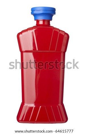 close up of  ketchup bottle on white background  with clipping path - stock photo