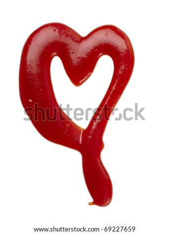 close up of  ketchup stains forming heart shape on white background  with clipping path - stock photo