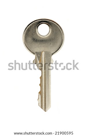 Close up of key isolated on white background.