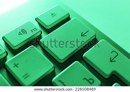 Close up of keyboard of modern laptop