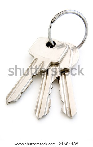 close up of keys on white background with clipping path - stock photo
