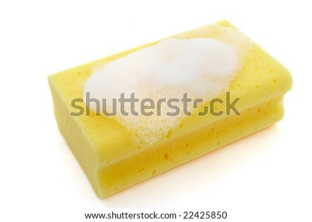 close up of kitchen sponge for do the dishes on white background with clipping path - stock photo