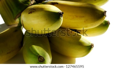 Close Up of Kluay Khai or Dainty Banana, One Kind of Banana. - stock photo