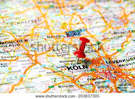Close up of Koln ,Germany  map with red pin - Travel concept  - stock photo