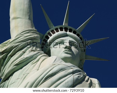 Close-up of Lady Liberty in front of a Las Vegas hotel