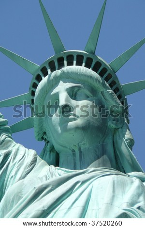 Close-up of Lady Liberty's face