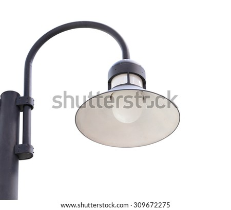 close up of lamppost isolated on white background (with clipping path) - stock photo