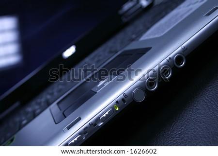 close-up of laptop - stock photo