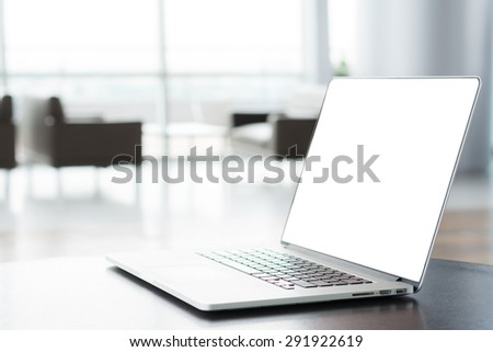 Close up of laptop with with screen,with copyspace - stock photo