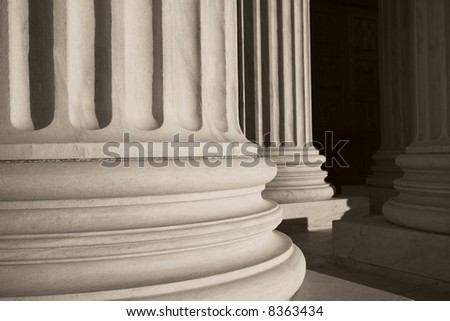Close up of large classical columns.