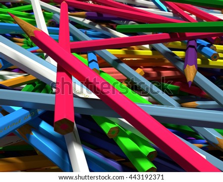 Close up of large group of colored pencils. Colored pencils scattered randomly. 3d render. - stock photo