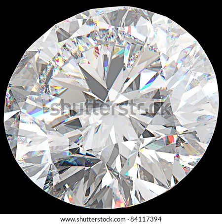 Close-up of large round diamond or gemstone isolated over black - stock photo