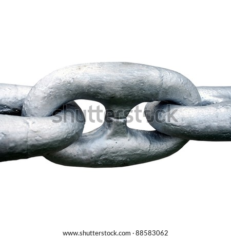 Close up of Large steel ships anchor chain - stock photo