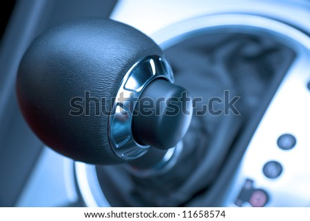 Close up of leather automatic transmission knob - stock photo