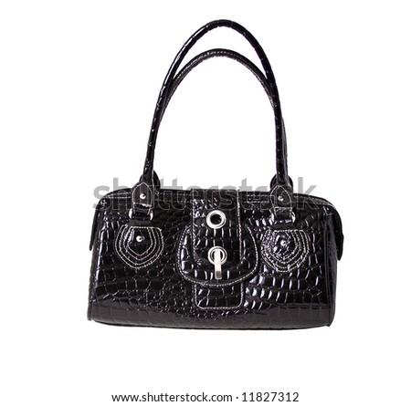 close up of leather feminine purse on white - stock photo
