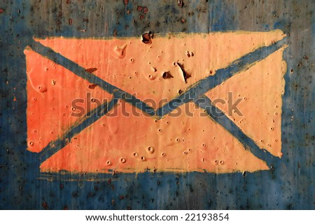 close up of letter symbol old mailbox - stock photo