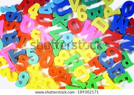 Close-up of letters. Great colours and details. - stock photo