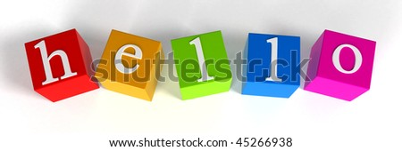 "Close-up of letters. ""Hello"" - stock photo"