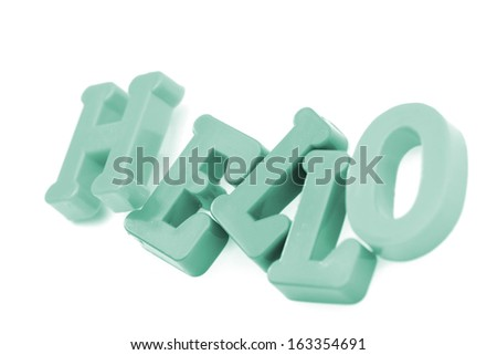 "Close-up of letters. ""Hello"" word."
