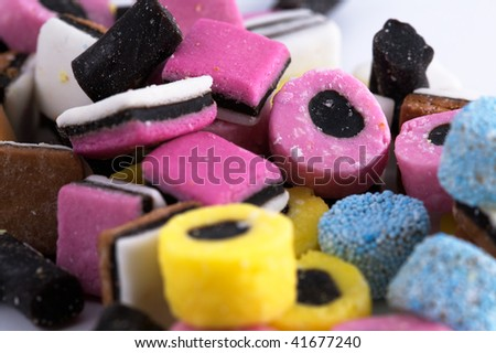 Close up of licorice allsort sweets - stock photo