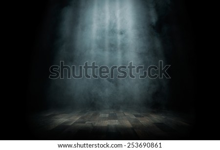 Close up of light beam at the empty stage with copy space - stock photo