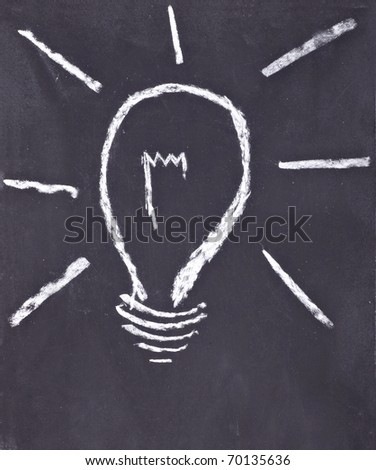 close up of light bulb drawing on chalkboard - stock photo