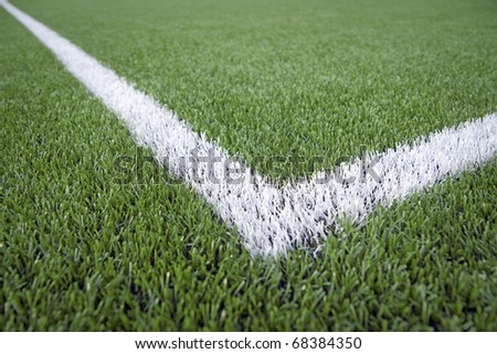 Close up of line in soccer field