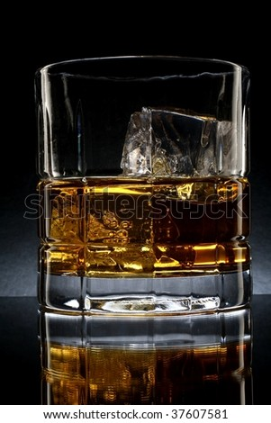 Close-up of liquor and ice in glasses on a black background. - stock photo