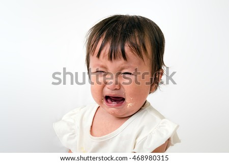 Close up of  little baby screaming crying