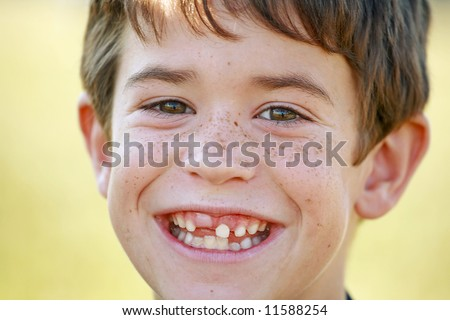 Close Up of Little boys Face - stock photo